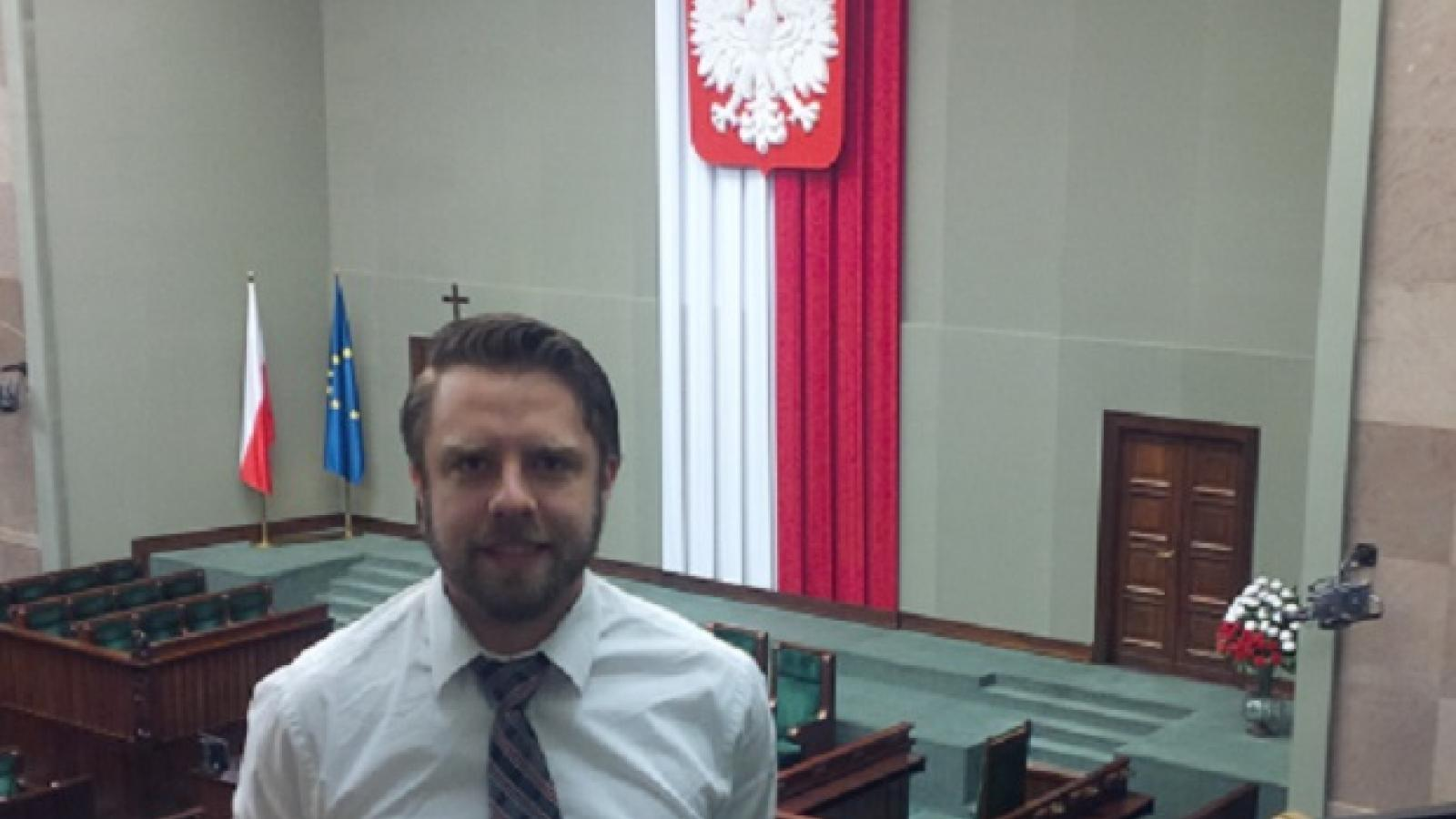 Peter Tunkis at the Press Gallery of the Plenary Hall at the Sejm in Poland
